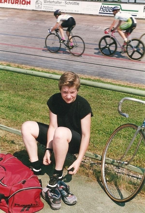 Auf der Radrennbahn 1995